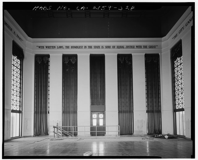 John Ash, AIA, Photographer August 1997. INTERIOR SOUTH ELEVATION OF LOS ANGELES CITY HALL TWENTY-SEVENTH FLOOR TOWER RECEPTION ROOM, FACING SOUTH - Los Angeles City Hall, 200 North Spring Street, Los Angeles, Los Angeles County, CA