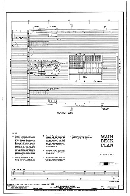 Main Deck Plan: Section 3 of 5, Weather Deck - Ship BALCLUTHA, 2905 Hyde Street Pier, San Francisco, San Francisco County, CA