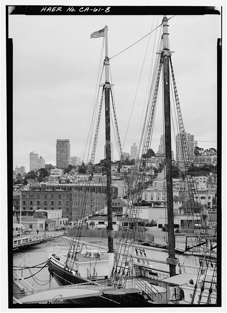 8.  View of after end of vessel from about midships showing mainmast and mizzenmast. - Schooner C.A. THAYER, Hyde Street Pier, San Francisco, San Francisco County, CA