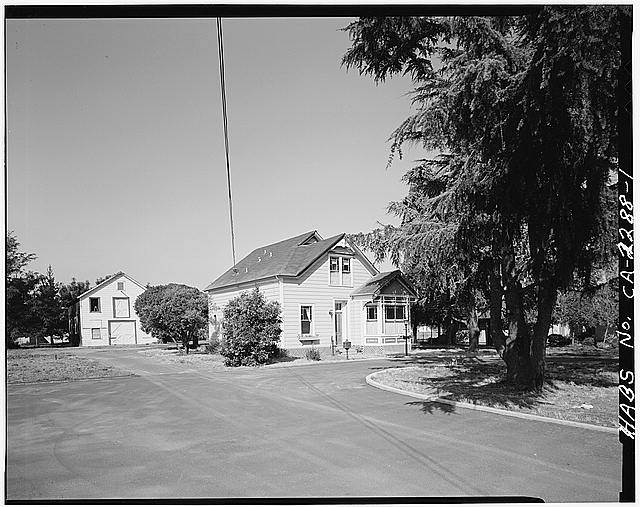 1.  VIEW OF CHAMPION HOUSE AND BARN FROM ACROSS DRIVEWAY, FACING WEST - Champion House, 1357 Mowry Avenue, Fremont, Alameda County, CA