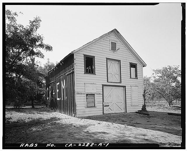 1.  VIEW OF CHAMPION BARN EAST FRONT AND SOUTH SIDE, FACING WEST - Champion House, Barn, 1357 Mowry Avenue, Fremont, Alameda County, CA