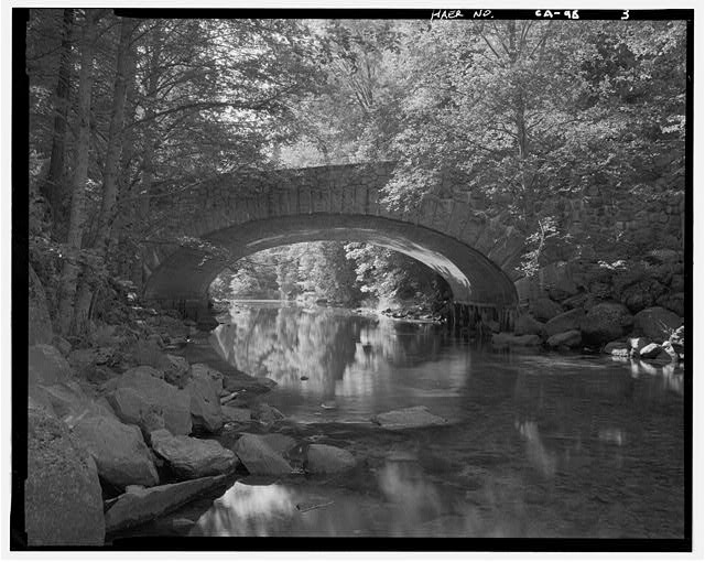 3.  VIEW NORTH ALONG TENAYA CREEK AT EAST FACE OF BRIDGE. - Tenaya Creek Bridge, Spanning Tenaya Creek on Mirror Lake Road, Yosemite Village, Mariposa County, CA