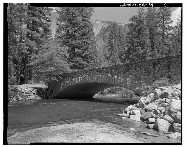 6.  WEST FACE OF BRIDGE FROM SOUTH BANK. - Sugar Pine Bridge, Spanning Merced River on service road, Yosemite Village, Mariposa County, CA