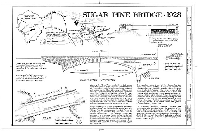 Title Sheet - Sugar Pine Bridge, Spanning Merced River on service road, Yosemite Village, Mariposa County, CA