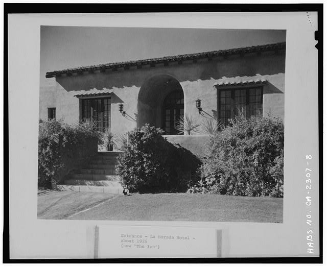8.  NORTHEAST FRONT, DETAIL OF ENTRANCE, CA. 1926 - La Morada, 5951 Lineade Cielo, Rancho Santa Fe, San Diego County, CA