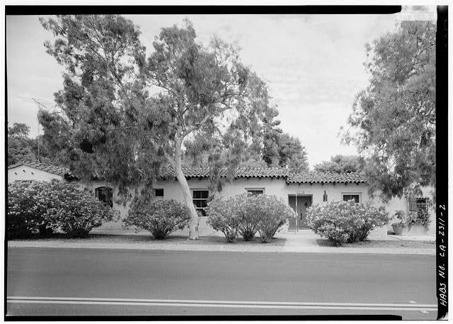 2.  SOUTHEAST FRONT, WITH SCALE - Sidney & Ruth Nelson Rowhouse, 6118 Paseo Delicias, Rancho Santa Fe, San Diego County, CA