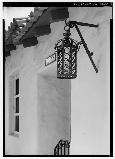 4.  SOUTHEAST FRONT, DETAIL OF LANTERN AND CORNICE - Sidney & Ruth Nelson Rowhouse, 6118 Paseo Delicias, Rancho Santa Fe, San Diego County, CA