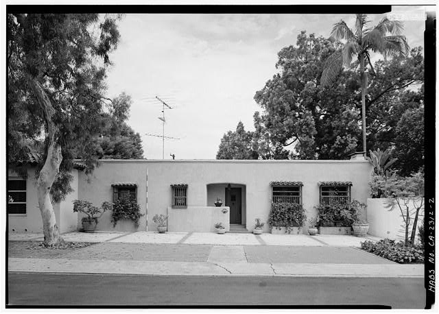 2.  SOUTHEAST FRONT, WITH SCALE - Baker-Megrew Rowhouse, 6122 Paseo Delicias, Rancho Santa Fe, San Diego County, CA