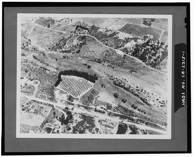 1.  AERIAL VIEW OF RANCHES. PASEO DELICIAS IN FOREGROUND. - Rancho Santa Fe, Rancho Santa Fe, San Diego County, CA
