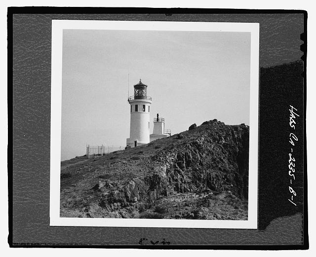 PERSPECTIVE VIEW OF LIGHT TOWER AND FOG HORN HOUSE - Anacapa Island Light Station, Light Tower, East Anacapa Island, Ventura, Ventura County, CA