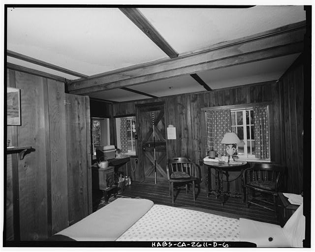 6.  View west-northwest of 'Champagne' room. Scale visible against Dutch door. - Deetjen's Big Sur Inn, Champagne Building, East Side of State Highway 1, Big Sur, Monterey County, CA