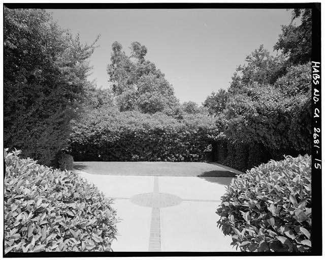 "View of northeast courtyard, oleander in background.  Camera facing 70"" east-northeast. - Goerlitz House, 9893 Highland Avenue, Rancho Cucamonga, San Bernardino County, CA"