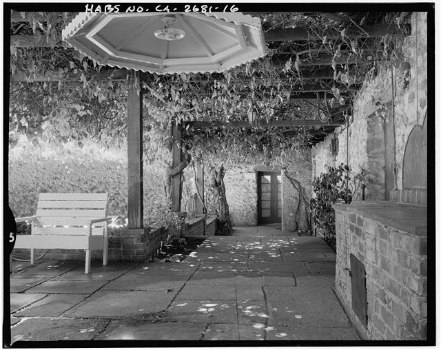 "View of vine-covered arbor on north side of house.  Camera facing 68"" east-northeast. - Goerlitz House, 9893 Highland Avenue, Rancho Cucamonga, San Bernardino County, CA"
