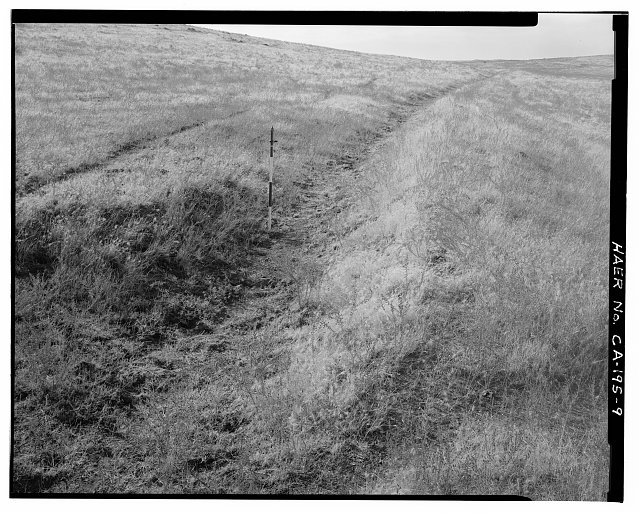 9.  DETAIL OF DITCH WITH VERTICAL SCALE; VIEW TO SOUTH. - Keefe-McDerby Mine Ditch, East of East Bidwell Street between Clarksville Road & Highway 50, Folsom, Sacramento County, CA