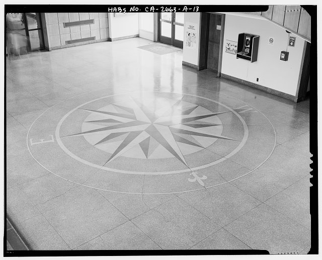 Compass Rose Floor Tile : View of compass rose tile inlay in floor lobby