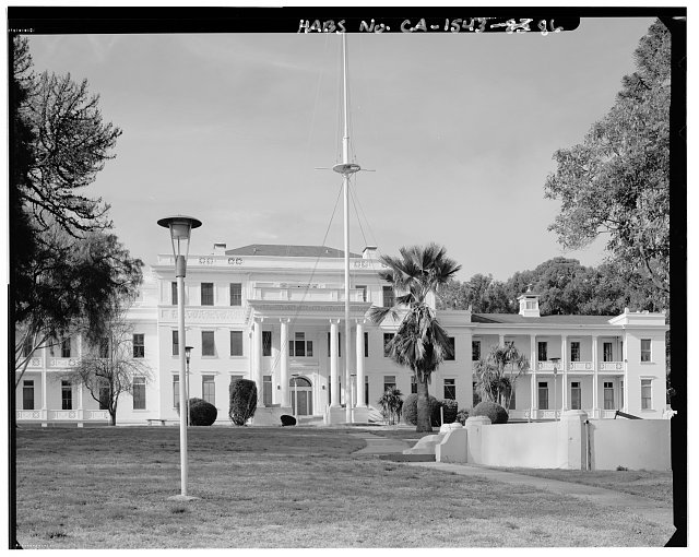 View of platform and flagpole in front of building H1; camera facing west. - Mare Island Naval Shipyard, East of Nave Drive, Vallejo, Solano County, CA