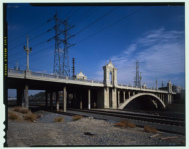 9.  SOUTHSIDE OF CESAR CHAVEZ BRIDGE. LOOKING EAST/NORTHEAST. - Macy Street Viaduct, Los Angeles, Los Angeles County, CA