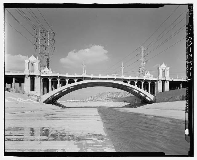 1.  SOUTHSIDE OF CESAR CHAVEZ BRIDGE CROSSING THE LOS ANGELES RIVER. LOOKING NORTH. - Macy Street Viaduct, Los Angeles, Los Angeles County, CA