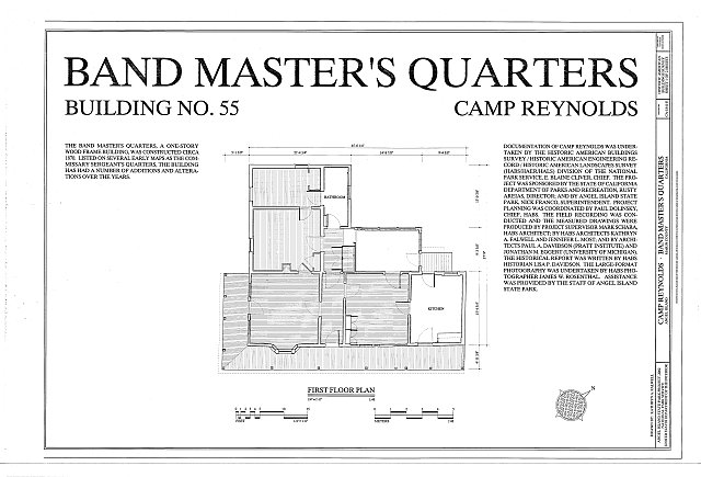 HABS CA-1841-E (sheet 1 of 2) - Camp Reynolds, Band Master's Quarters, Angel Island State Park, Angel Island, Marin County, CA