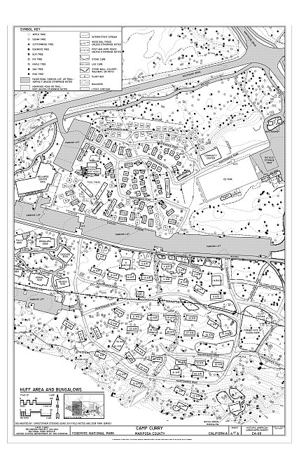 Huff Area and Bungalows Site Plan - Camp Curry, Curry Village, Mariposa County, CA