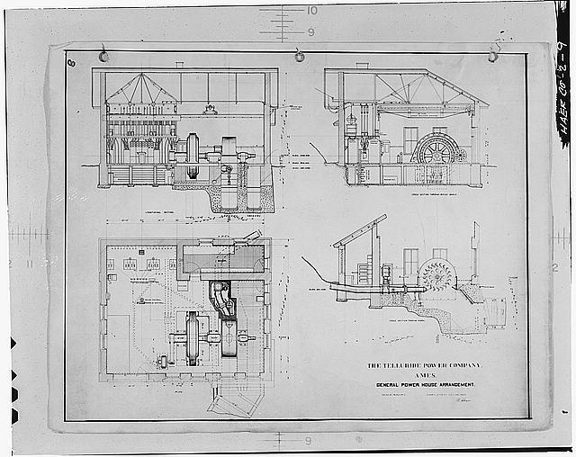 9.  PLAN AND SECTIONS OF TELLURIDE POWER COMPANY'S 1905 POWER HOUSE. - Ames Hydroelectric Plant, Ames, San Miguel County, CO