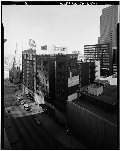 1.  EXTERIOR, WEST FACADE LOOKING NORTHEAST FORM ROOF OF BROWN PALACE HOTEL - Hotel Metropole & Broadway Theater, 1756 Broadway Street, Denver, Denver County, CO