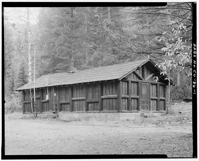 Timber Creek bunkhouse and mess hall, Rocky Mountain National Park.  Viewing east. - Timber Creek Bunkhouse & Mess Hall, Trail Ridge Road, Grand Lake, Grand County, CO
