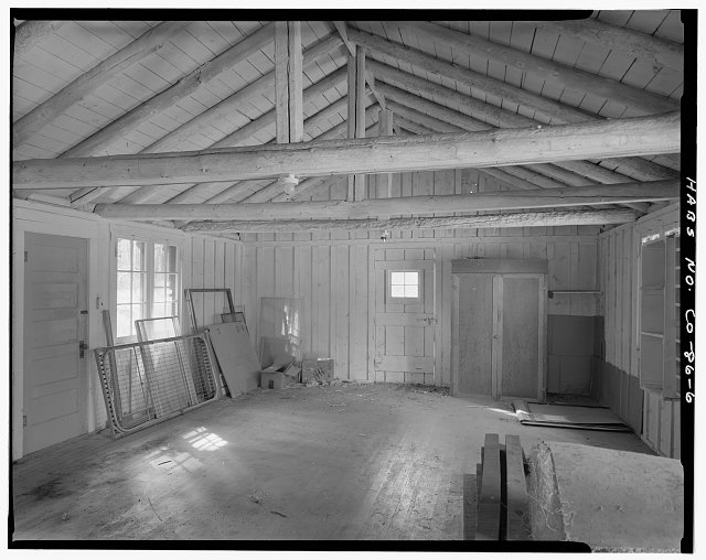 Timber Creek bunkhouse and mess hall, Rocky Mountain National Park.  Interior, bunk area, viewing southwest. - Timber Creek Bunkhouse & Mess Hall, Trail Ridge Road, Grand Lake, Grand County, CO