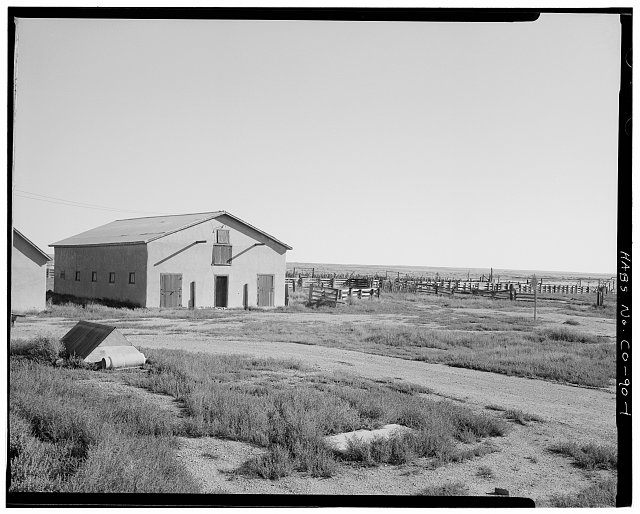 General view with corral (CO-90-B), looking northeast. - Samuel T. Brown's Sheep Ranch, 6 miles east of U.S. Highway 350, Model, Las Animas County, CO