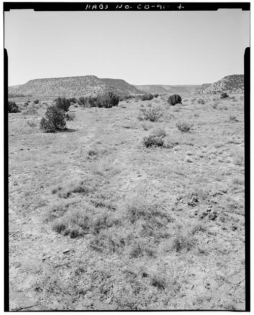 General view, irrigation canal north of residence at fence line, looking west. - Eugene Rourke Ranch, 19 miles east of U.S. Highway 350, Model, Las Animas County, CO