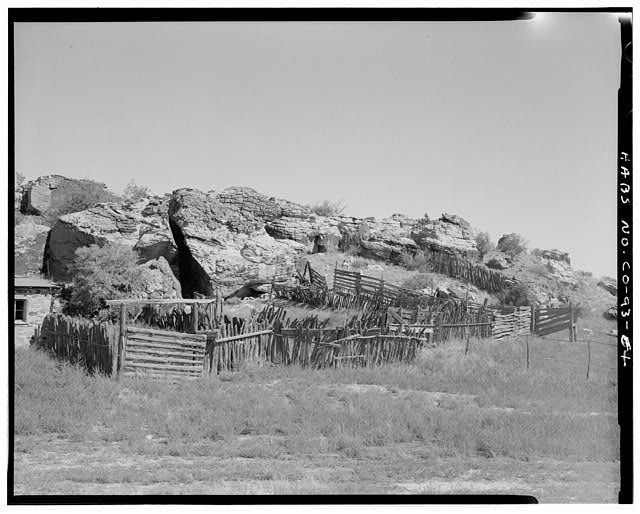 Corrals, rock outcrop forming corrals, looking northeast. - John Sanders Cross Homestead, 11 miles east of U.S. Highway 350, Model, Las Animas County, CO