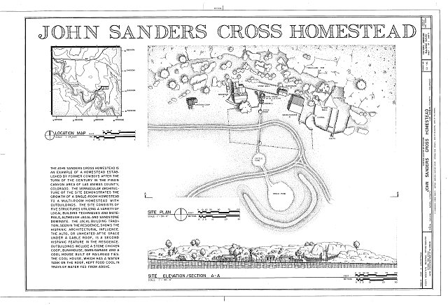HABS COLO,36-MOD.V,3- (sheet 1 of 1) - John Sanders Cross Homestead, 11 miles east of U.S. Highway 350, Model, Las Animas County, CO