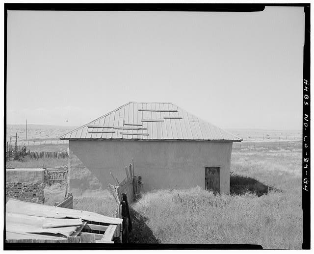 Adobe Barn, left side, looking northwest. - Adam & Bessie Arnet Homestead, Adobe Barn, East & adjacent to stone shed, Model, Las Animas County, CO