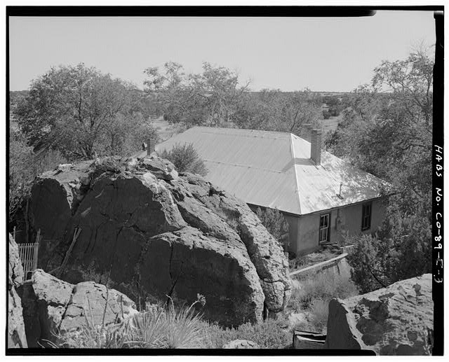 Adam and Bessie Arnet Residence, overall view from rocks above, looking southeast. - Adam & Bessie Arnet Homestead, Adam & Bessie Arnet Residence, 18 feet west of Generator House, Model, Las Animas County, CO