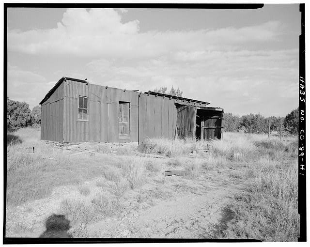 Garage, front and left side, looking northwest. - Adam & Bessie Arnet Homestead, Garage, 240 feet northeast of Adam & Bessie Arnet Residence, Model, Las Animas County, CO