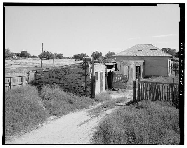 Stone shed, front and left end, looking east. - Adam & Bessie Arnet Homestead, Stone Shed, West & adjacent to Adobe Barn, Model, Las Animas County, CO
