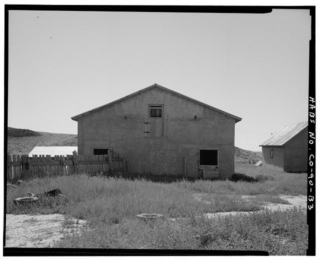 Horse barn, rear, north side, looking southeast. - Samuel T. Brown's Sheep Ranch, Horse Barn, 170 feet northeast of main residence, Model, Las Animas County, CO