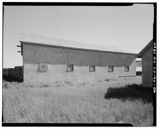 Horse barn, west side, looking northeast. - Samuel T. Brown's Sheep Ranch, Horse Barn, 170 feet northeast of main residence, Model, Las Animas County, CO