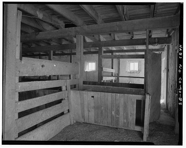House barn, interior, stall detail. - Samuel T. Brown's Sheep Ranch, Horse Barn, 170 feet northeast of main residence, Model, Las Animas County, CO