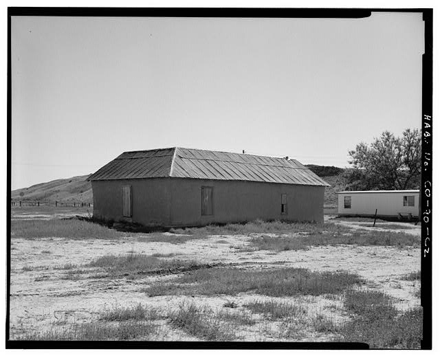 Bunkhouse, rear west and north sides, looking southeast. - Samuel T. Brown's Sheep Ranch, Bunkhouse, 100 feet east of original residence, Model, Las Animas County, CO