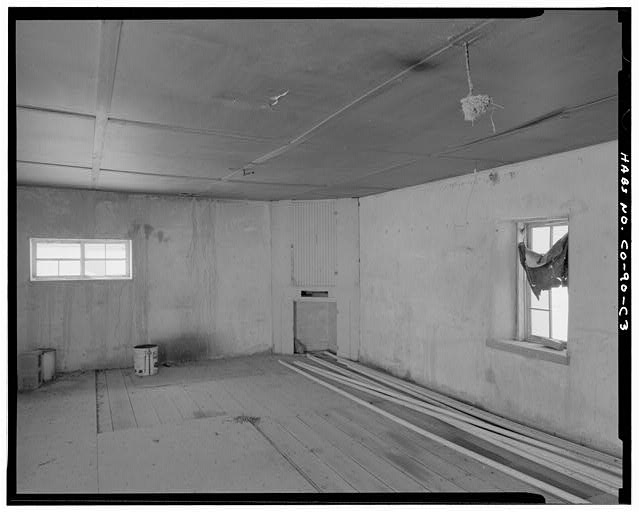 Bunkhouse, interior with fireplace. - Samuel T. Brown's Sheep Ranch, Bunkhouse, 100 feet east of original residence, Model, Las Animas County, CO