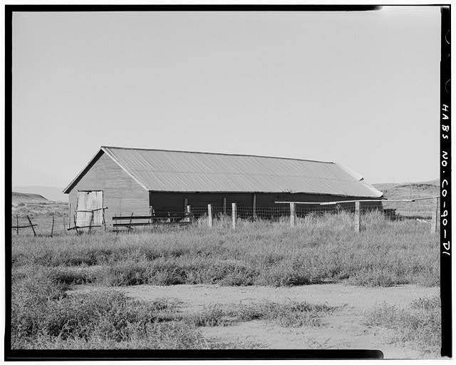 Barn, east and north sides, looking southwest.  Corral is in foreground. - Samuel T. Brown's Sheep Ranch, Barn, 160 feet east of main residence, Model, Las Animas County, CO