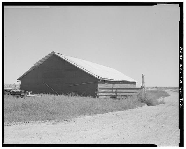 Barn, west and south sides, looking northeast. - Samuel T. Brown's Sheep Ranch, Barn, 160 feet east of main residence, Model, Las Animas County, CO