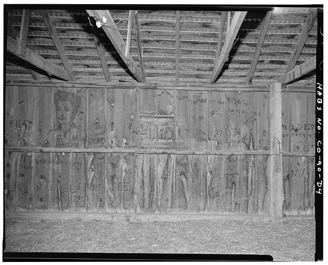 Barn, interior graffiti, left rearward wall. - Samuel T. Brown's Sheep Ranch, Barn, 160 feet east of main residence, Model, Las Animas County, CO