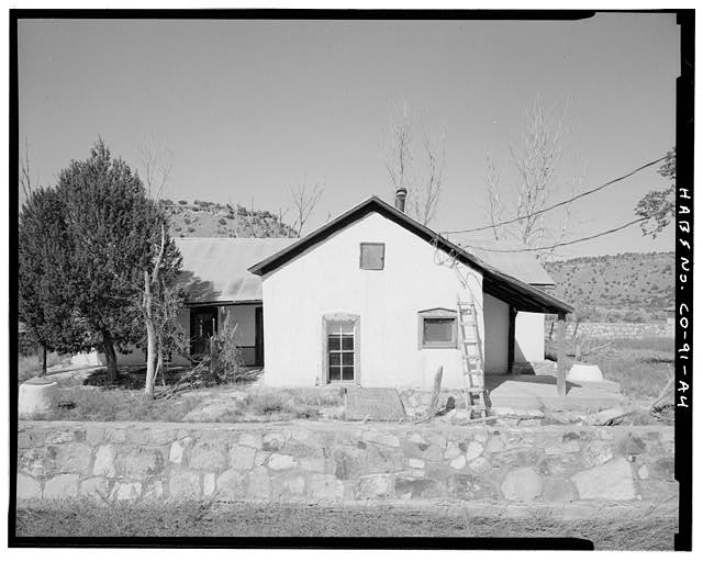 Residence, left, looking north. - Eugene Rourke Ranch, Residence, 40 feet west of bunkhouse, Model, Las Animas County, CO