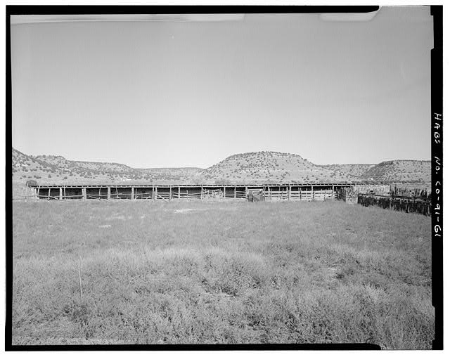 Cattle barn, front, looking north. - Eugene Rourke Ranch, Cattle Barn, Southwest of residence, Model, Las Animas County, CO