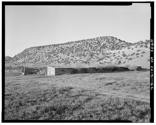 Cattle barn, rear and right end, looking south. - Eugene Rourke Ranch, Cattle Barn, Southwest of residence, Model, Las Animas County, CO