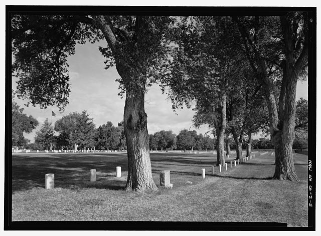 VIEW OF HISTORIC MARKERS, SECTION H.  VIEW TO NORTHWEST.  - Fort Lyon National Cemetery, 15700 Country Road HH, Las Animas, Bent County, CO