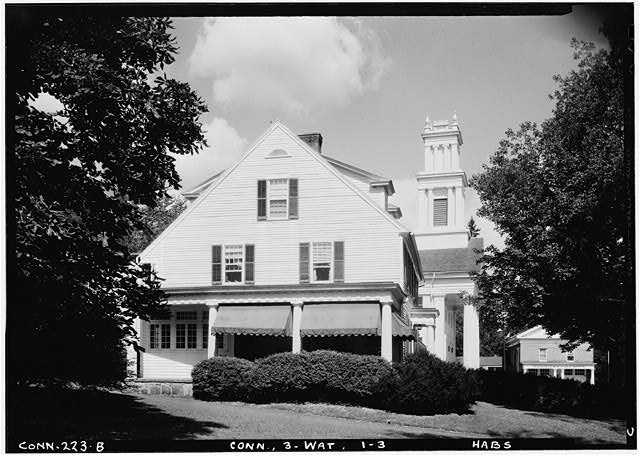 3.  Historic American Buildings Survey (Fed.) Stanley P. Mixon, Photographer Sept. 6, 1940 (B) EXTERIOR SIDE VIEW OF CHURCH, FROM SOUTH, WITH HOUSE IN FOREGROUND - First Congregational Church, Watertown, Litchfield County, CT