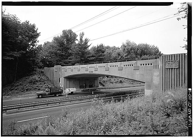 1.  VIEW OF BURR STREET BRIDGE FROM EMBANKMENT. - Merritt Parkway, Burr Street Bridge, Spanning Merritt Parkway, Fairfield, Fairfield County, CT